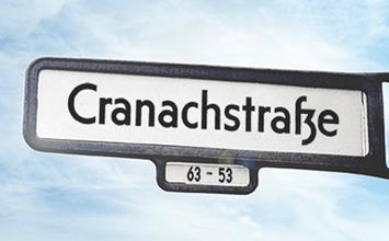 Berliner Straßenschild Cranachstraße 59